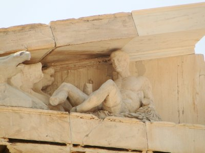 one of the few remaining sculptures in Acropolis