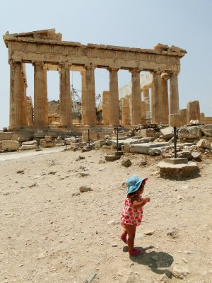 Ylla with the  Parthenon in the back