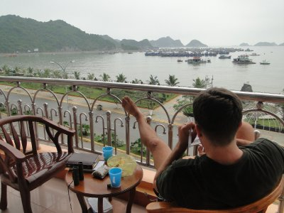 Jay chilling out in our balcony, Cat Ba Island