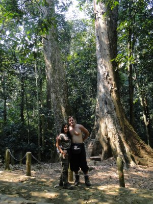 Us in front of an ancient tree, Bach Ma National Park