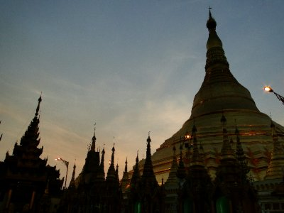 Shwedagon Pagoda at sunset time, Yangon