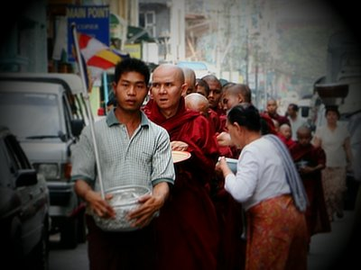 Alms giving, Yangon