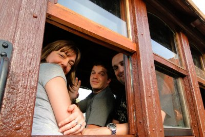 Cami, Jay and Guille going for a train ride in Republica de los Nios