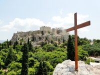 Cross with Acropolis at the back