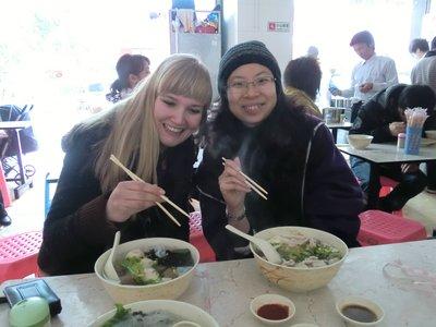 Marije and Joey eating noodle soup!