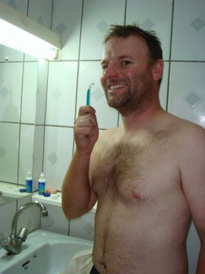 Craig shaving