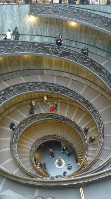 The amazing spiral stair case at the exit of the Vatican City Museums