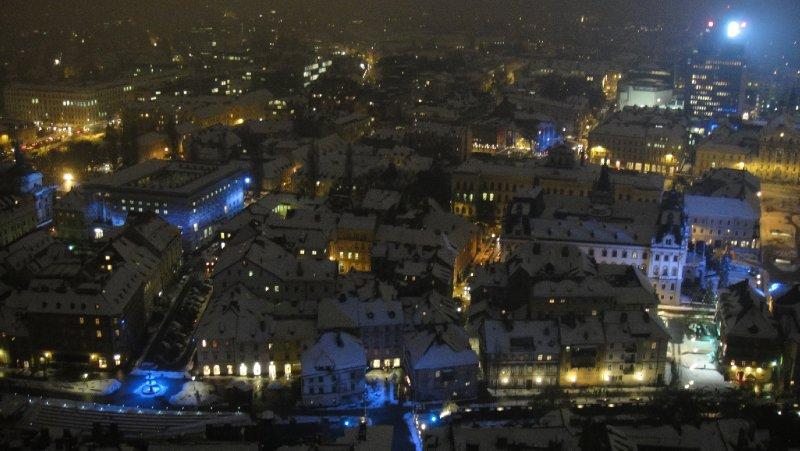 View of Ljubljana from Castle Hill Watchtower, Ljubljana, Slovenia