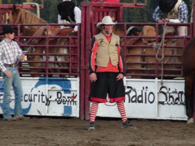 rodeo clown with a big mouth