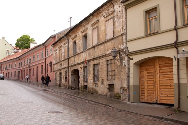 Partly renovated street in the Uzupis district, Vilnius