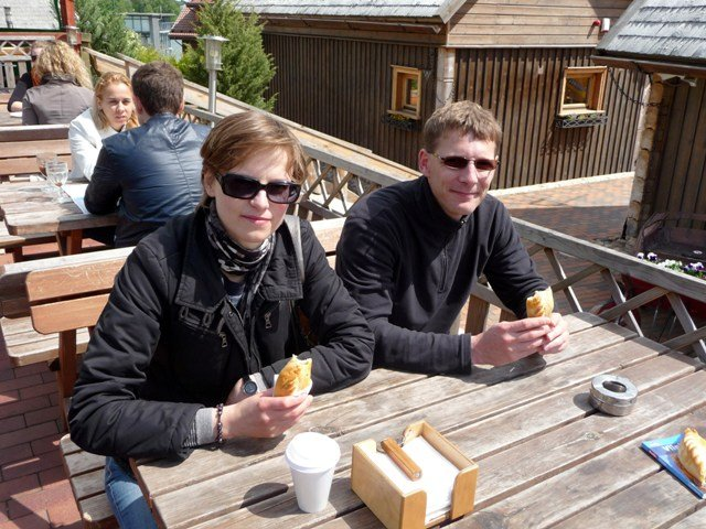 Eating kibinai in Trakai