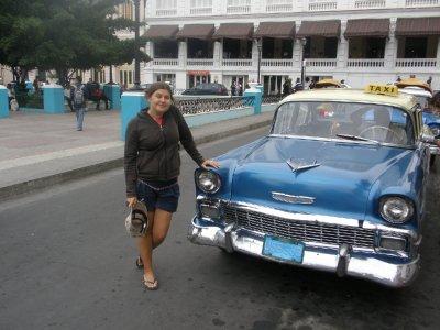 Marsha and our taxi, Santiago De Cuba