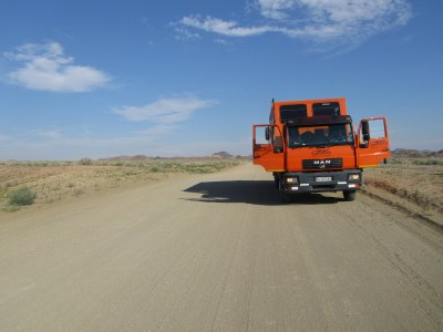 Our truck on the road in Namibia