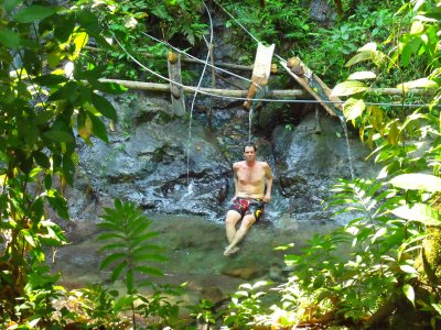 Patrick in the hot springs. Manu National Park, The Amazon Rainforest.