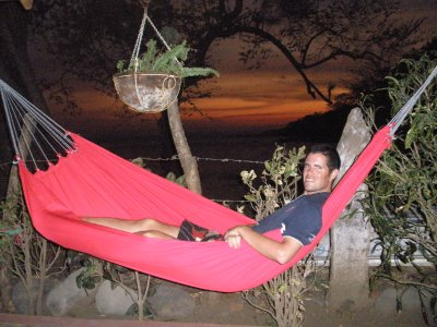 Patrick in a hammock at Sunset on Ometepe