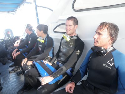 Waiting to dive off Gordon Rocks in the Galapagos Islands