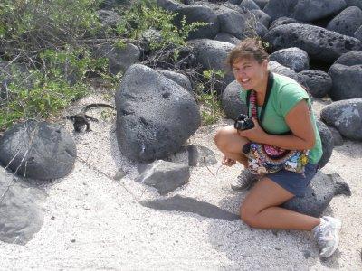 Marsha and an Iguana in the Galapagos Islands