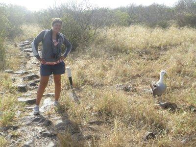 Marsha and an Albatross on Espanola. In the Galapagos Islands