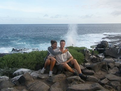 Us and a Blowhole on Espanola. In the Galapagos Islands