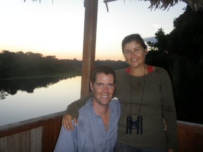 Us at the oxbow lake. Manu National Park, The Amazon Rainforest.