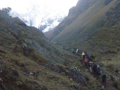 Starting out on the climb. Day 2. Walking to Machu Picchu.