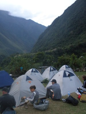 Made it! Day 2 campsite. Walking to Machu Picchu.