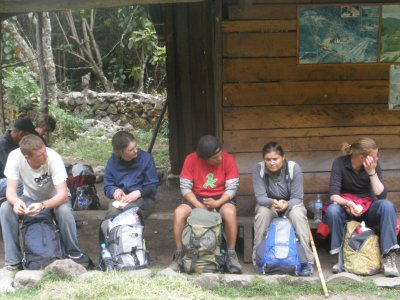 Marsha tells a story on a break during day 3. Walking to Machu Picchu
