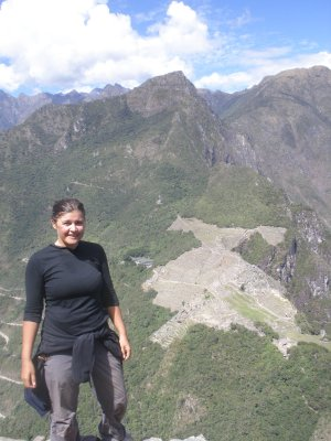 Marsha and Machu Picchu from Waynu Picchu