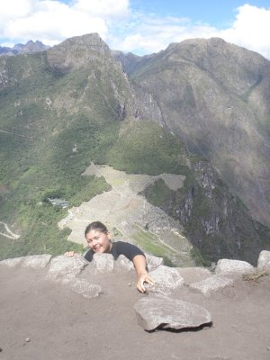 Machu Picchu behind Marsha showng off..., Peru