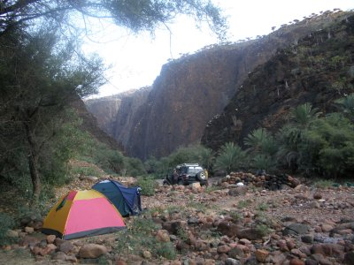 Campsite on the river bed