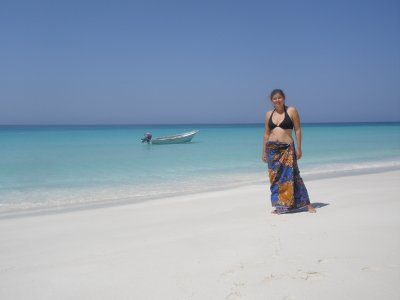 Marsha on a beach in Socotra
