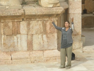 Marsha performs in the roman theatre in Jerash
