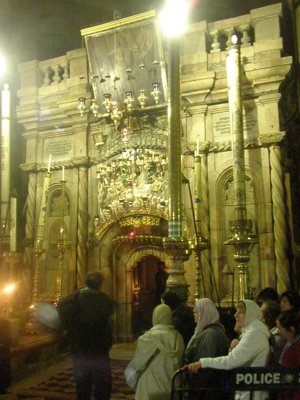 Inside the Holy Sepulchre, where Jesus was crucified