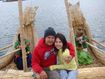 Pat and me aboard a straw boat at Lake Titicaca