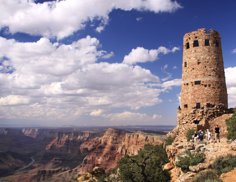Grand Canyon National Park, The watch tower, tourist take in the beauty and grandure of the Canyon