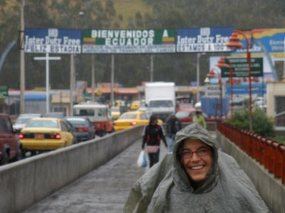 Laura looking like a turtle crossing the colombian ecuador border