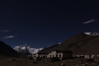 view of Everest from Rongbuk Monastery dormitories
