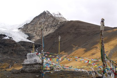 stupa and prayer flags at the foot of a glacier