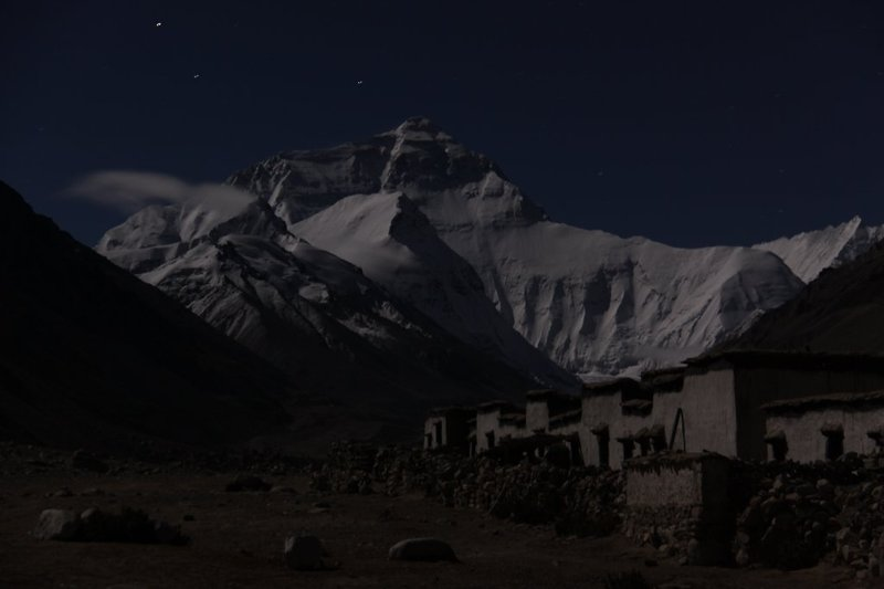 Mt. Qomolangma (Everest) from Rongbuk Monastery