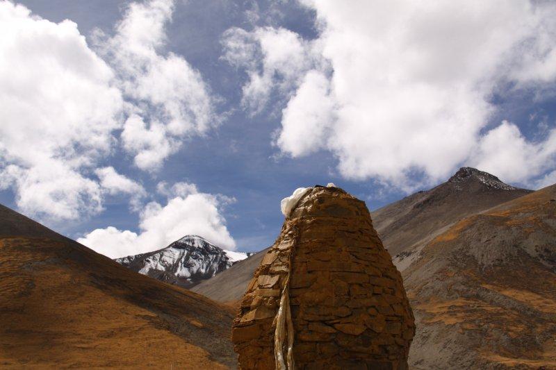 Tibetan sky and stone stupa