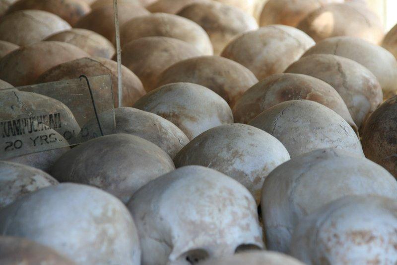 Skulls in stupa - Choeung Ek