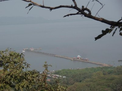 Looking down to the jetty at Elephanta Island