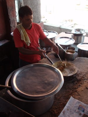 Cooking lunch at Ganesh restaurant