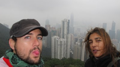 Nosaltres des del Peak a Hong Kong