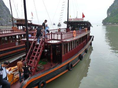 Boarding the junk boat