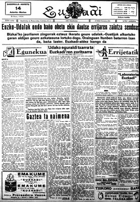 A scan of Euzkadi, one of the oldest Basque newspapers. It no longer exists
