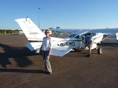 Me next to our plane that flew us over the Okavango Delta