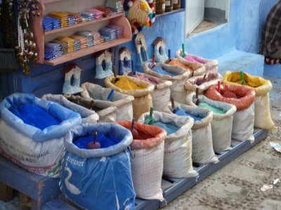 Sacks of paint in Chefchouan