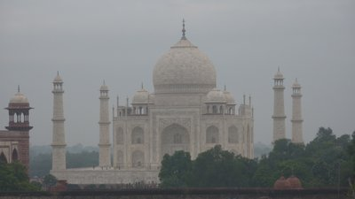 Taj Mahal from the rooftop of our hotel, Agra, India