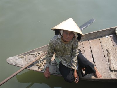 Hoi An Old Lady on Boat